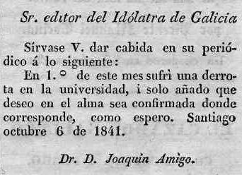 El Idólatra de Galicia Año I, nº 10 - Santiago de Compostela, 1841