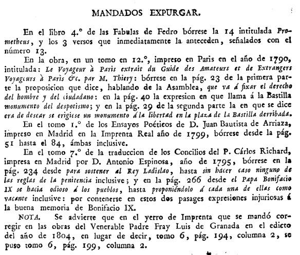 Fragmento de la Carta de los inquisidores de Galicia mandando expurgar y prohibiendo algunos libros y papeles (1805)