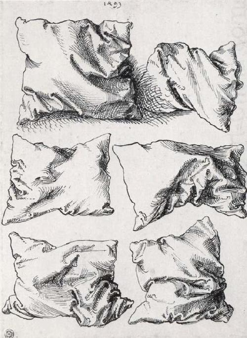 Albrecht Dürer, six pillows, pen an ink on paper, n.d. Via quack