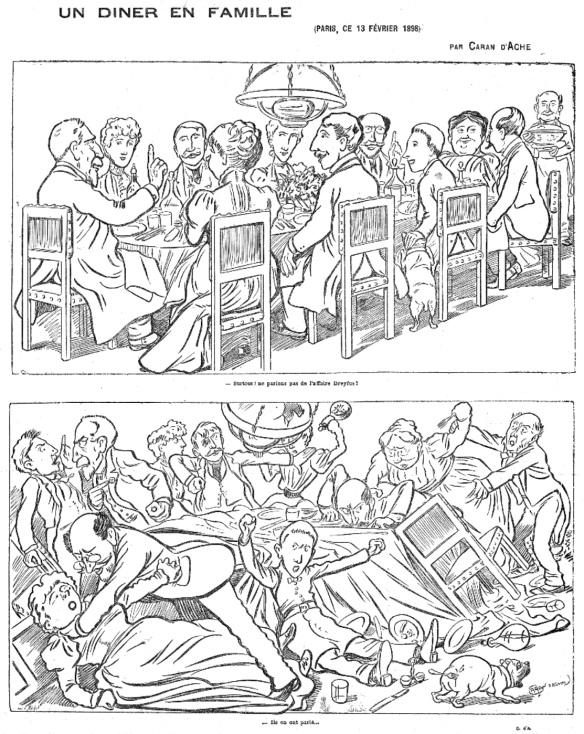 En el panel superior, el anfitrión dice: «Por encima de todo, no debemos hablar del Caso Dreyfus!». El panel inferior muestra la cena en gran desorden: «Ellos han hablado de él», por el caricaturista Caran d'Ache, Le Figaro, 14 de febrero de 1898. Via Wikipedia