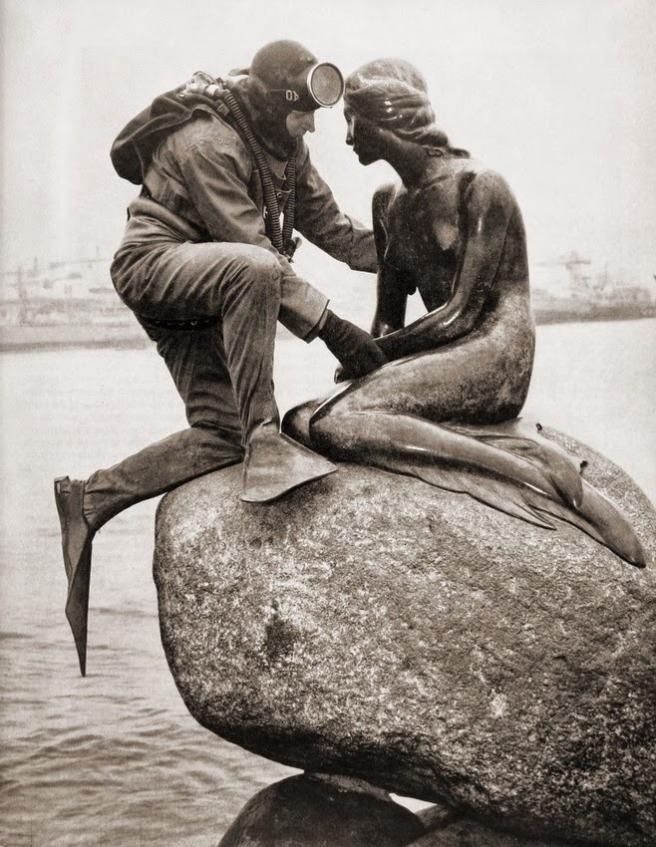 Kaj Peters. Frogman visiting Little Mermaid. Copenhagen, 1965. Via Semiotic Apocalypse