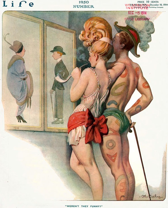 Otho Cushing imagines the fashion of a future 1950 in issue #1950 of Life Magazine, 1914. Via