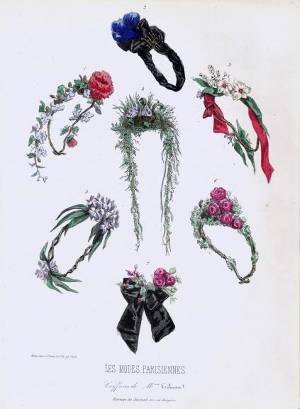 Arsenical wreaths from the Maison Tilmans, Paris, Les Modes Parisiennes, 24 January 1863. Via In pictures: drop-dead fashion through history