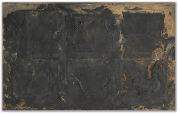 Antoni Tàpies (Spanish, 1923-2012), Noir aux quatre entailles, 1961. Mixed media on canvas, 81 x 130 cm. Via