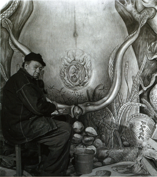 Diego Rivera Painting the Female Figure in the mural Water, Origin of Life, 1951. Via