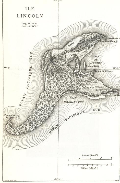 """Mapa de la Isla Lincoln de """"La isla misteriosa"""" de Julio Verne. Via"""